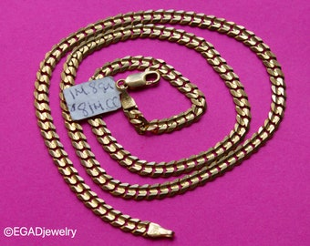 """Vintage 10k 20"""" Yellow Gold Solid Curb Link Chain Necklace"""