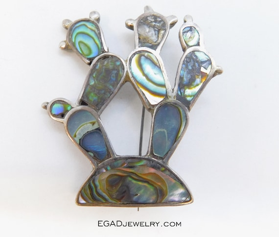 Sterling Silver Abalone Shell Cactus Pin / Brooch