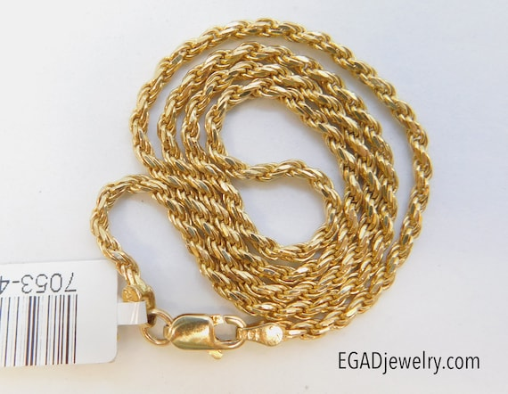 14K Yellow Gold Rope Necklace, Rope chain, Men's c