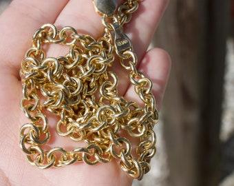 Handmade 18K Yellow Gold Rolo Link Chain Necklace Handmade jewelry Handmade necklace solid chain Gold jewelry heavy solid gold chain