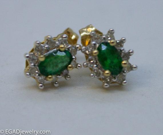 Fancy 14k Yellow Gold Oval Emerald and Diamond Stu
