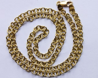 "Handmade 18K Yellow Gold Rolo Link Chain Necklace 26"" Handmade jewelry Handmade necklace solid chain"