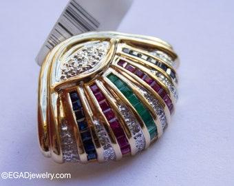 Vintage 14k Yellow Gold Diamond, Ruby, Sapphire, and Emerald Slide Pendant
