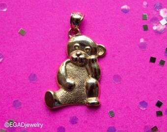 Vintage 14k Yellow Gold Teddy Bear Pendant Dazzlers