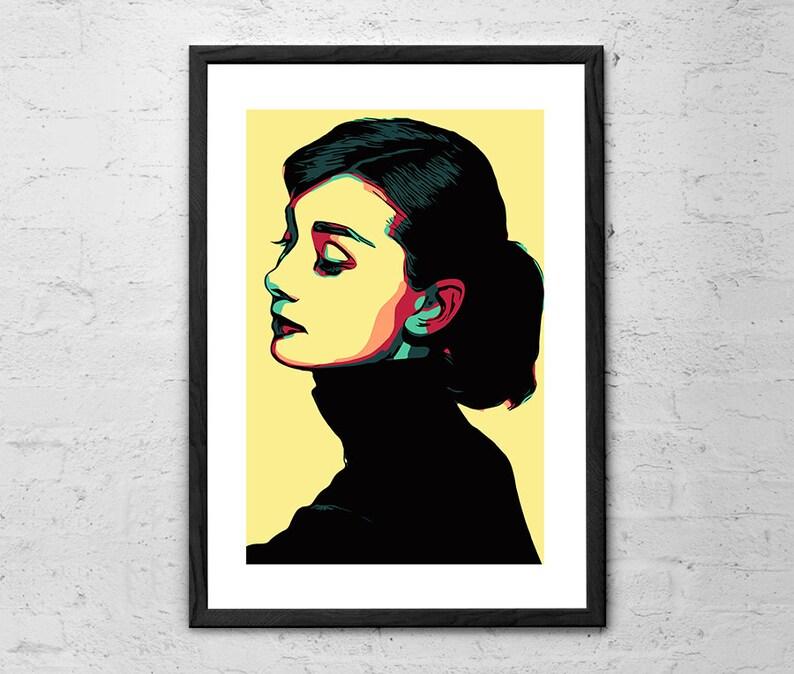 Audrey Hepburn Illustration Audrey Hepburn Wall Art Audrey Hepburn Print Audrey Hepburn Poster Audrey Hepburn Gifts Movie Poster