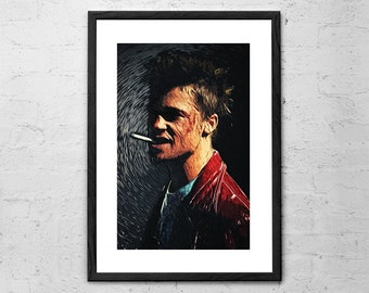 Tyler Durden - Fight Club - Illustration - Movie Poster - Brat Pitt - Fight Club Poster - Chuck Palahniuk - Marla Singer - Fight Club Art