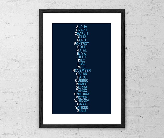Phonetic Alphabet Navy Blue Nato Phonetic Alphabet Etsy