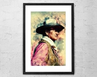 John Wayne - Digital Painting - John Wayne Print - John Wayne Poster - John Wayne Gift - The Duke - Cowboy Art - Western Decor - Movie Art