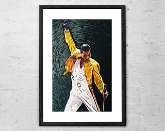 Freddie Mercury - Digital Painting - Rock Poster - Music Decor - Rock and Roll - Rock Music Art - Queen Band Poster - Freddie Mercury Poster