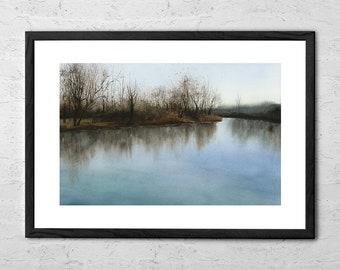 Silent Morning - Watercolor Painting -  Watercolor Print - Watercolor Wall Art - Watercolor Nature - Lake Print - Landscape Print - Forest