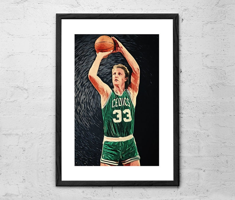 huge discount d3024 cdb1c Larry Bird - Illustration - Boston Celtics - Larry Bird Art - Larry Bird  Poster - Boston Celtics Decor - Larry Bird Vintage - Basketball Art