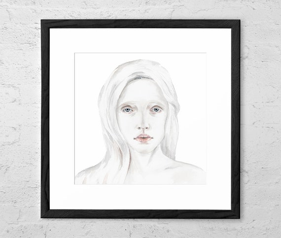 Alone With Everybody Watercolor Painting Female Figure Art Print Girl Portrait Illustration Girl Watercolor Art Print Scandinavian
