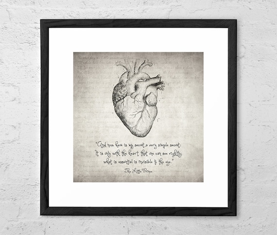The Little Prince Heart Quote Drawing The Little Prince Etsy Beauteous Little Prince Love Quotes