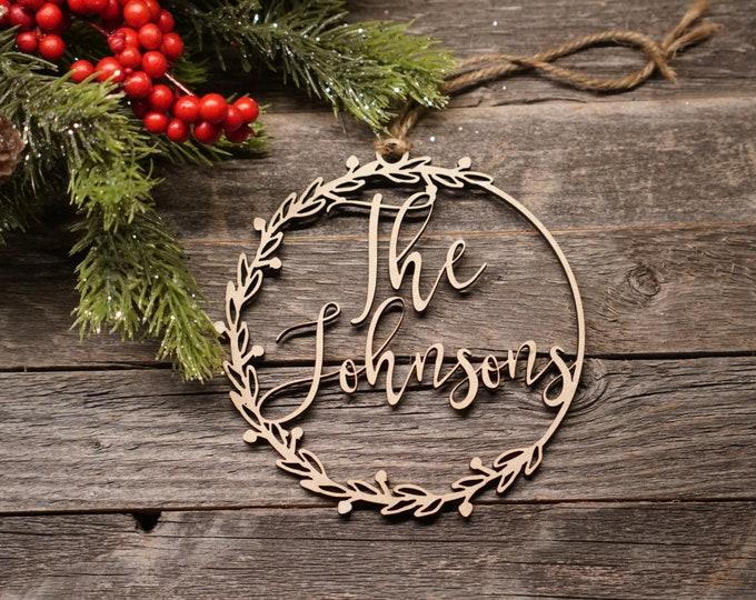 Wreath Christmas Ornament | Personalized Ornament | Wedding Ornament | Anniversary Ornament | Calligraphy Ornament |