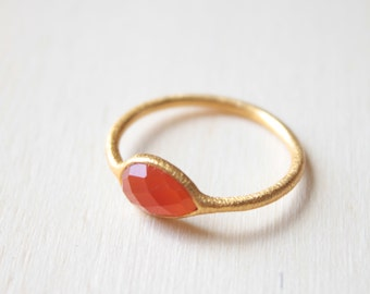 Red Ruby Ring Gem Ring for Women Aquamarine Ring Gem Stone Ring Carnelian Jewelry Coral Ring Carnelian Ring Chunky Gold Ring