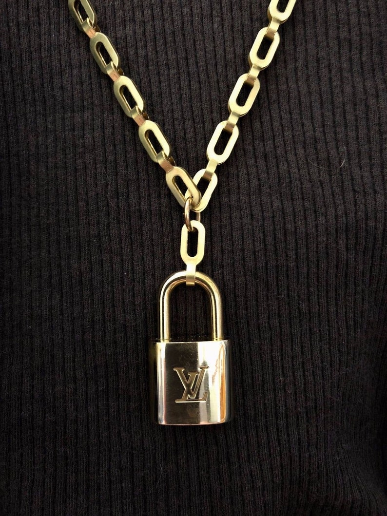 Louis Vuitton Lock Necklace With Solid Brass Chain Upcycled And Authentic