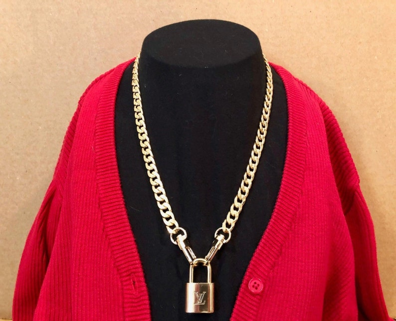 25b9391e35c4 Louis Vuitton Lock Necklace with Gold Tone Curb Link Chain