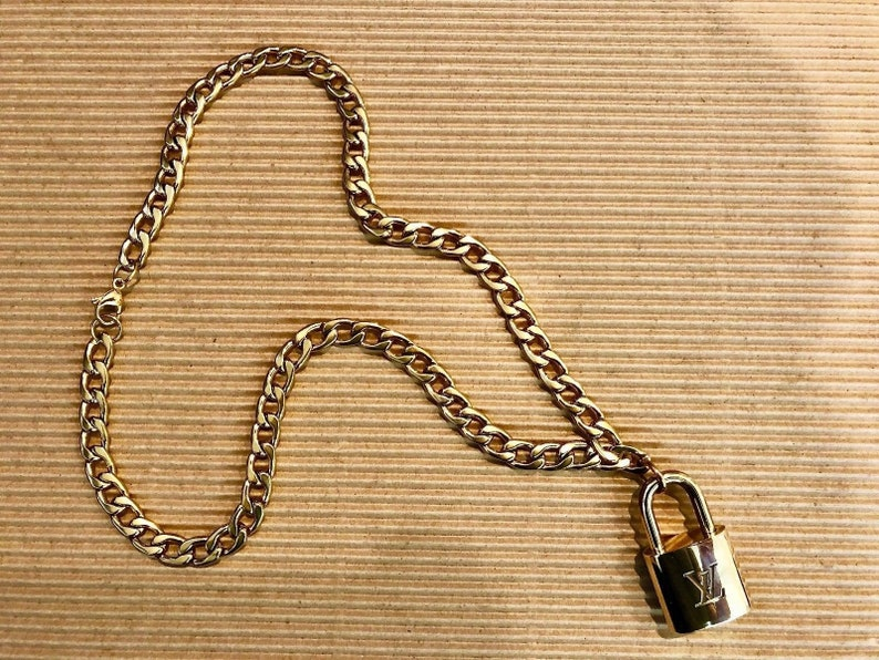 7ed737193321 Louis Vuitton Lock Necklace with Curb Chain Choker Upcycled