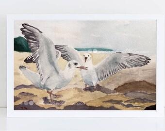 Watercolor seagulls instant download