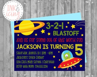 Out Of This World, Space Theme | Child's Birthday Invitation | Personalized Digital File
