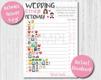Wedding Emoji Pictionary Game, Bridal Shower Games, Bridal emoji game, Printable Wedding Games, Pink Bridal Games, Bridal Games