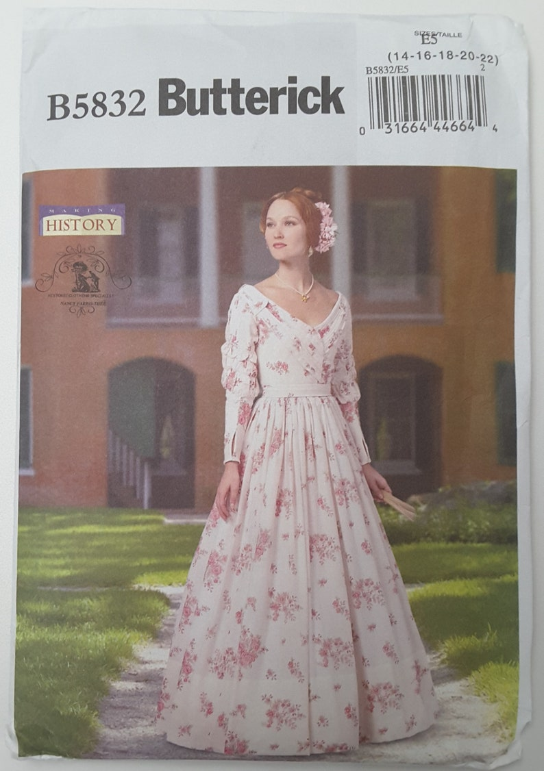 Butterick, B5832, Victorian, Dress, Historical, Southern Belle Gown, Plus  Size 14, 16, 18, 20, 22, Sewing Pattern, Uncut, Factory Fold
