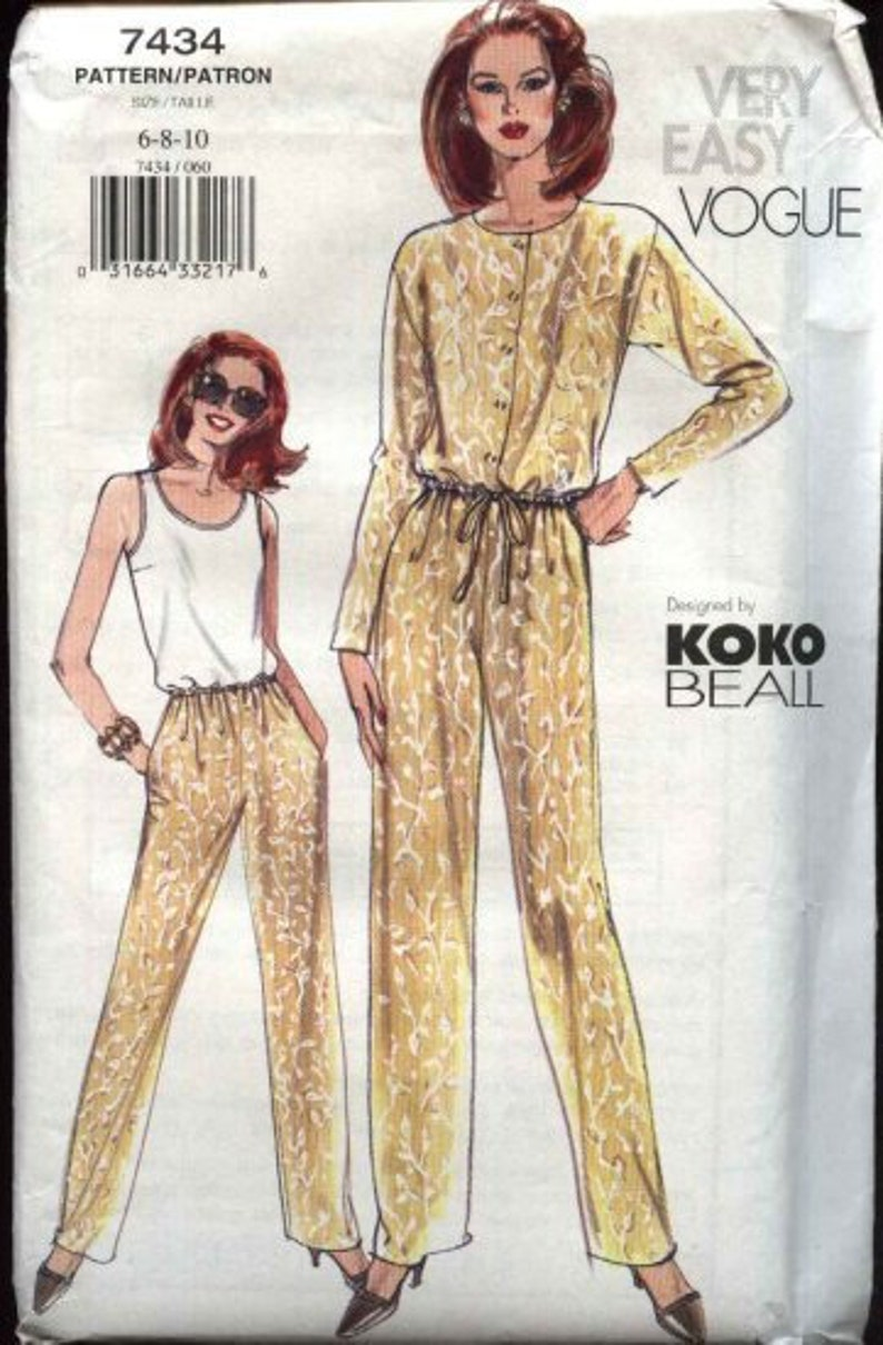 Koko Beall with Uncut Size Tapered Pants Jacket Tank Top 8 Factory Fold Sewing Pattern and 6 7434 10 Resort Casual Vogue