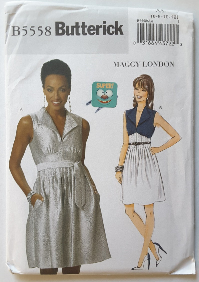 Uncut Factory Fold 6 Maggy London PINTUCK WAIST Butterick 10 B5558 8 Sewing Pattern Womens/' Dress 12 Size