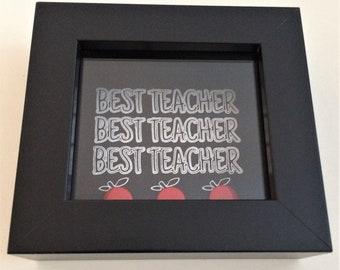 Teacher Appreciation Thank You Deep Box Frame Chalkboard Style Button Art