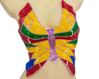 Rainbow Butterfly Sequin Top