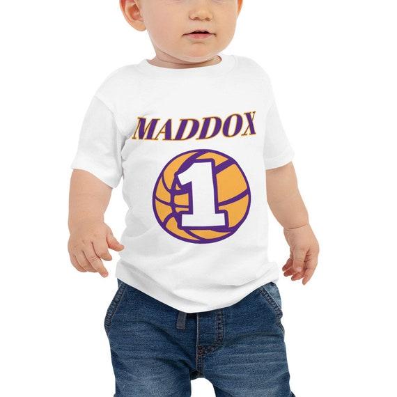 sports shoes 4ac33 83067 1 Year Old Boy/Girl Birthday LA Lakers Style Baby Jersey Short Sleeve  Tee-NBA Birthday Shirt