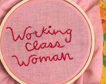 hand-embroidered working class woman patch. hand-stiched, cotton, embroidery