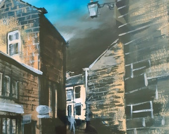 Towards The Pub, Heptonstall acrylic painting