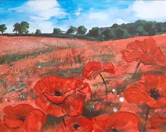 Poppyfields acrylic painting