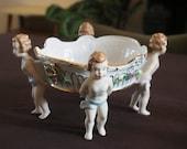 Dresden Antique Bisque porcelain basket with 4 putti 39 s ca 1918 perfect antique condition