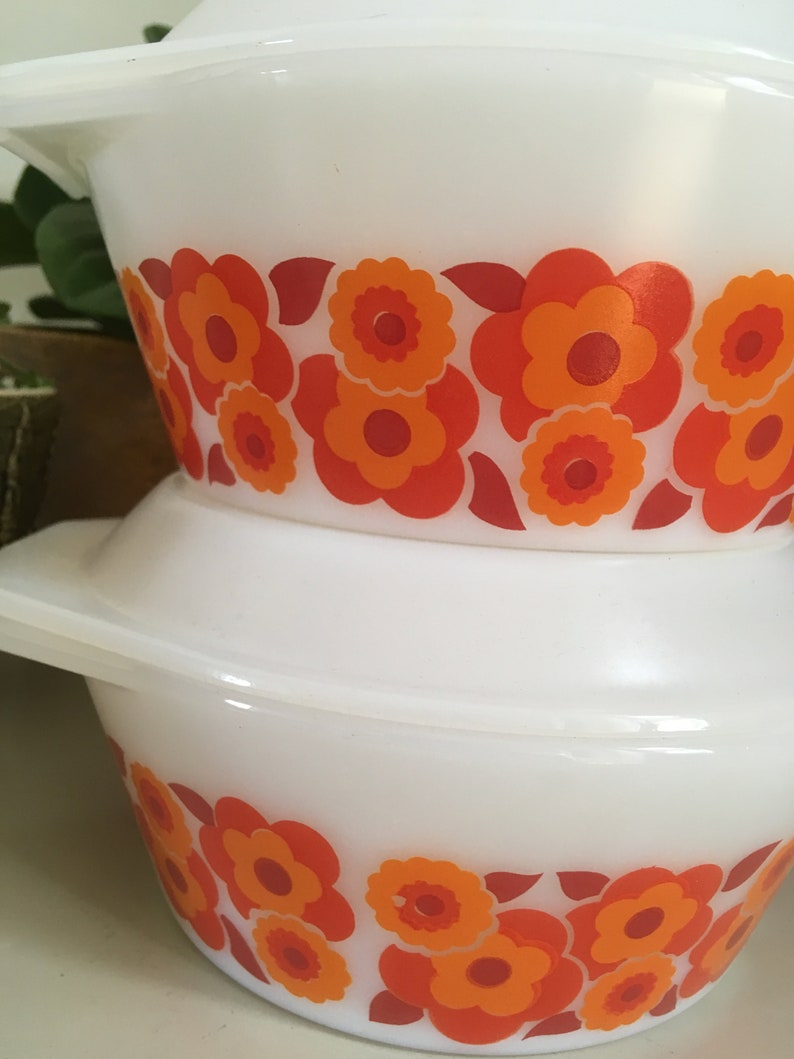 Mid century Perfect condition Lotus 2 bowls with lid 1960 casseroles Floral Arcopal