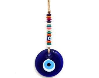 Glass Evil Eye Wicker Macrame Amulet Wall Hangings No: 3176   Multi-Color Disc Shape Wooden Beads   Good Luck   Protection   Nazar Boncuğu