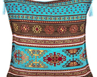 """Ethnic Turkish Decorative Cushion Covers / Decorative Pillow Covers 18"""" x 18"""" (45x45 cm) With Tassel Kilim Design No: 1   Throw Pillow Cover"""