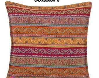 "SET OF 2 - Decorative Boho Cushion Covers / Decorative Bohemian Pillow Covers 18"" x 18"" (45x45 cm) Kilim Design - Moroccan Fashion"