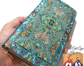 Handmade Turkish Carpet Pattern Vegan Leather Women Wallet Clutch Slim Zipper Big - Gift For Her - Birthday Gift - Boho Style