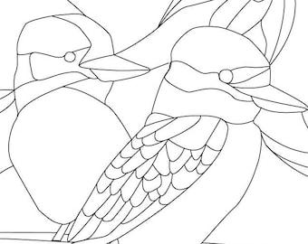 Kookaburra leadlight pattern