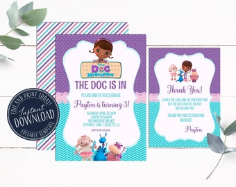 Doc McStuffins Invitation Instant Download Girl Birthday Invitations Editable Template