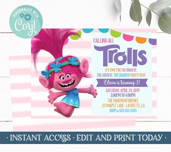 Trolls Invitations Poppy Invitation Birthday Girl Editable Template