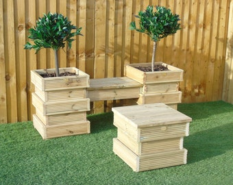 Garden Seating Area SET 3/4   Bee Hive Wooden Decking Planters + Bench  Combination (2 Planters + 1 Short Bench)