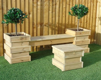 Garden Seating Area SET 1/2   Bee Hive Wooden Decking Planters + Bench  Combination (2 Planters + 1 Long Bench )