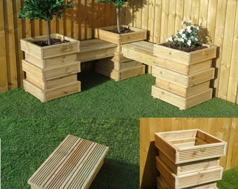 Garden Seating Area SET 11/12   Bee Hive Wooden Decking Planters + Bench  Combination (4 Planters + 3 Short Benches)