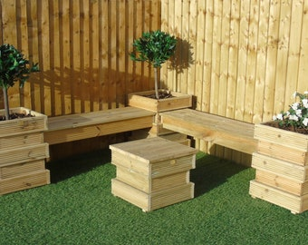 Garden Seating Area SET 5/6   Bee Hive Wooden Decking Planters + Bench  Combination (3 Planters + 2 Long Benches)