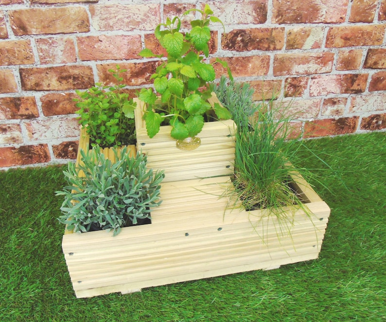 Quintuple Herb Planter Display Wooden Garden Decking Treated Etsy