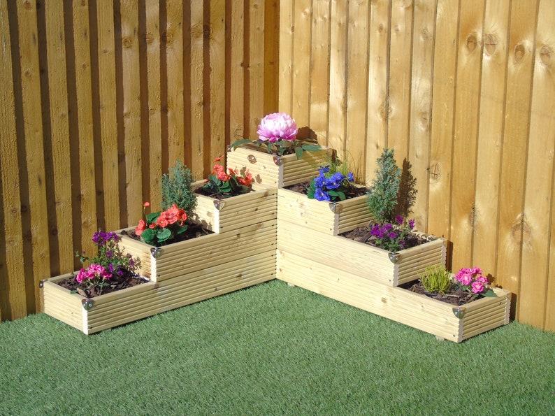 X Large 4 Tiered Corner Garden Level Steps Wooden Decking Etsy
