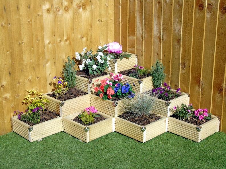 4 Tier Mountain Corner Garden Level Steps Wooden Decking Etsy